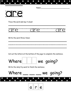 Kindergarten Sight Word Practice Worksheets 1-25