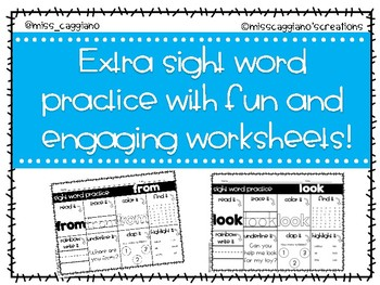 Kindergarten Sight Word Practice Worksheets - Blue Words