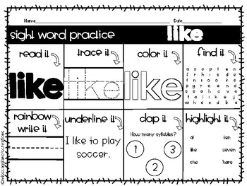 Kindergarten Sight Word Practice Worksheets - Green Words