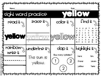 Kindergarten Sight Word Practice Worksheets - Red Words
