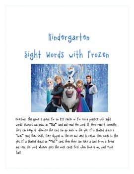 "Kindergarten Sight Word Practice with ""Frozen"""