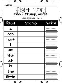 Kindergarten Sight Word Read, Stamp, Write