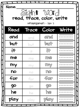 Kindergarten Sight Word Read, Trace, Color, and Write Worksheets