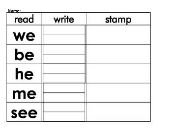 Kindergarten Sight Word Read, Write Stamp Packet
