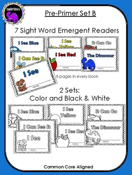 Kindergarten Sight Word Readers: Dolch Pre-Primer Set B