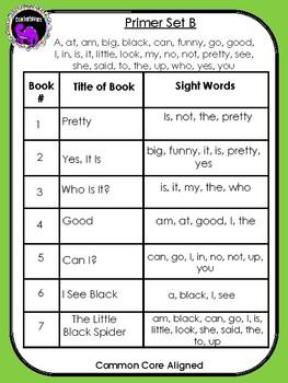 Kindergarten Sight Word Readers: Dolch Primer Set B