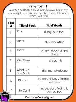 Kindergarten Sight Word Readers: Dolch Primer Set H