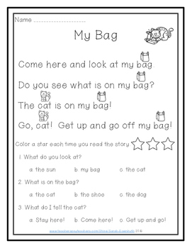Kindergarten Sight Word Reading Comprehension Passages