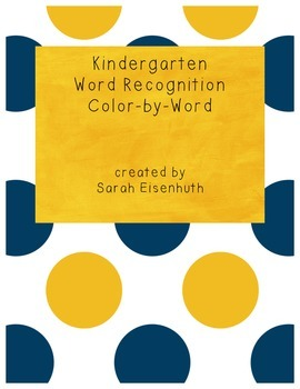 Kindergarten Sight Word Recognition Color by Word Worksheets