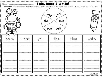 Kindergarten Sight Word Review Games ~ Four in a Row, Fidget Spin & Read, &more!