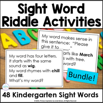 Kindergarten Sight Word Riddles Bundle