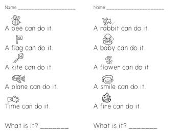 Kindergarten Sight Word Riddles FREEBIE