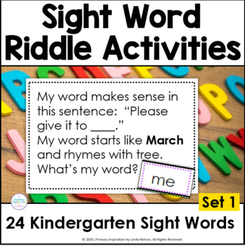 Kindergarten Sight Word Riddles Set 1