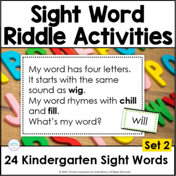 Kindergarten Sight Word Riddles Set 2