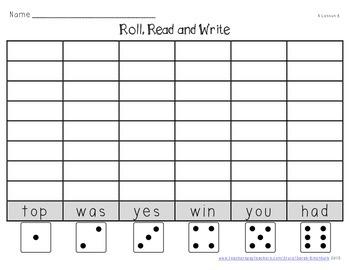 Kindergarten Sight Word Roll It, Read It, Write It