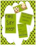 Kindergarten Sight Word Roll Say Keep