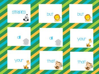 Kindergarten Sight Word Safari Game Set #2