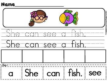 Kindergarten Sight Word Sentence Building Activity Sheets