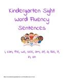 Kindergarten Sight Word Sentence Fluency Practice