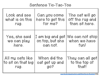 Kindergarten Sight Word Sentence Tic-Tac-Toe