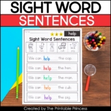 Kindergarten Sight Word Sentences