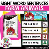 Kindergarten Sight Word Sentences, mini book, pocket chart - Farm Animals