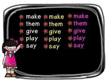 Kindergarten Sight Word Slideshow # 2 The Next 50 (animated with sound)
