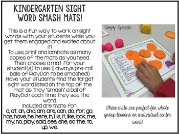 Kindergarten Sight Word Smash Mats