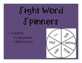Kindergarten Sight Word Spinners