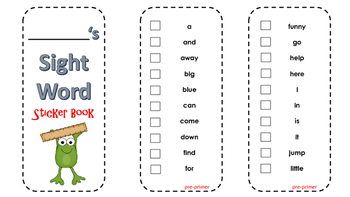 Kindergarten Sight Word Sticker Book