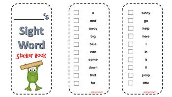 Kindergarten Sight Word Sticker Book
