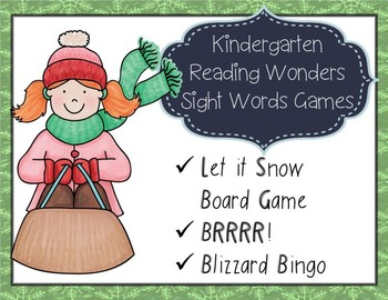 Kindergarten Sight Word Winter Games Reading Wonders Centers