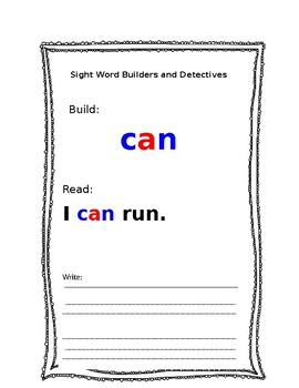 Kindergarten Sight Word, Word Dectives