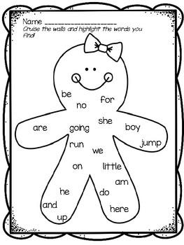 Kindergarten Sight Word & Word Family Write the Room ~ December