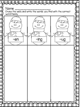 Kindergarten Sight Word & Word Family Write the Room ~ January
