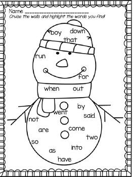Kindergarten Sight Word & Word Family Write the Room ~ January