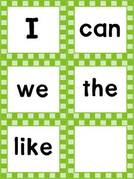 Kindergarten Sight Word / Word Wall Words