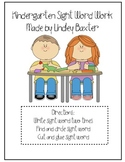 Kindergarten Sight Word Work