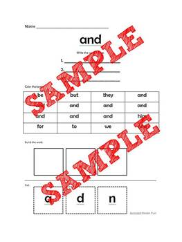 Sight Word Work **Freebie**