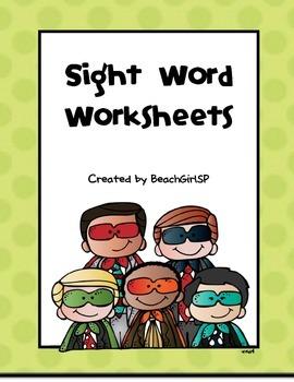 Kindergarten Sight Word Worksheets