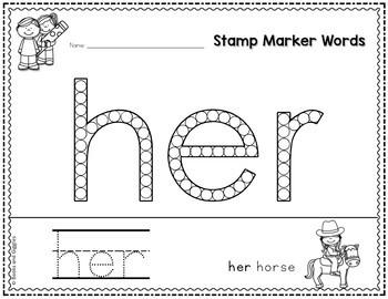 Kindergarten Sight Word Worksheets for Stamp Markers