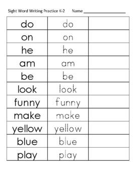 Kindergarten Sight Word Writing Practice