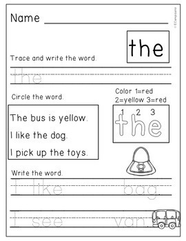 Kindergarten Sight Word Practice Unit 1