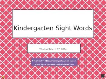 Kindergarten Sight Words 1