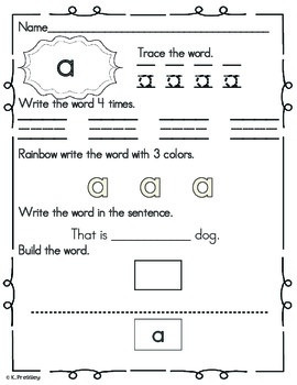 50 Kindergarten Sight Word Practice Pages!