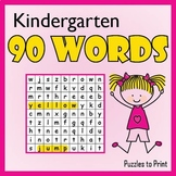Kindergarten Sight Word Search Puzzle Pack
