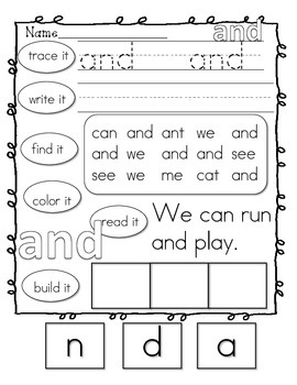 Kindergarten Sight Words **FREEBIE**