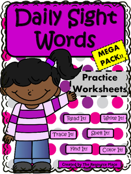 Kindergarten Daily Sight Words