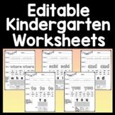 Kindergarten Sight Word Practice Worksheets {40 Sight Word