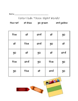 Kindergarten Sight Words Activity Pack